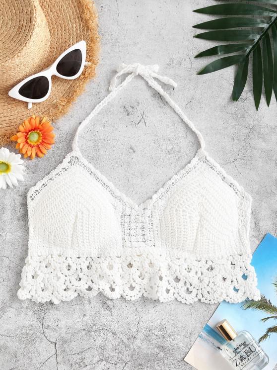 fancy Halter Tie Padded Crochet Beach Top - WHITE ONE SIZE