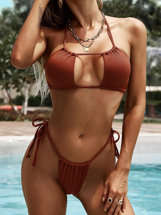 buy ZAFUL Ribbed Crisscross Back Tie Cutout Bikini Swimwear - COFFEE S