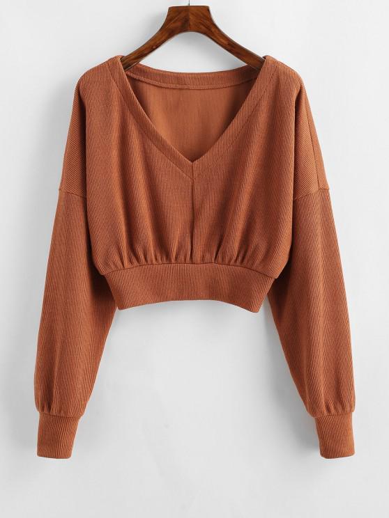 hot ZAFUL Drop Shoulder V Neck Crop Sweater - RUST M