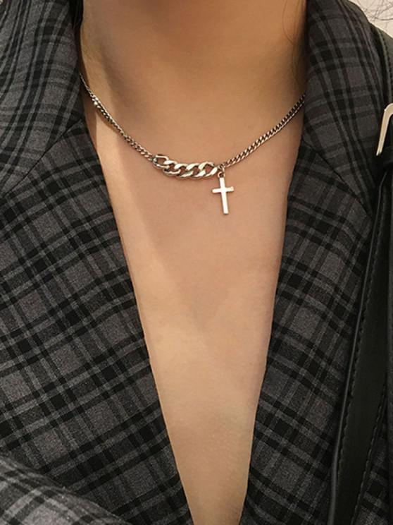 fashion Retro Chain Cross Clavicle Necklace - SILVER