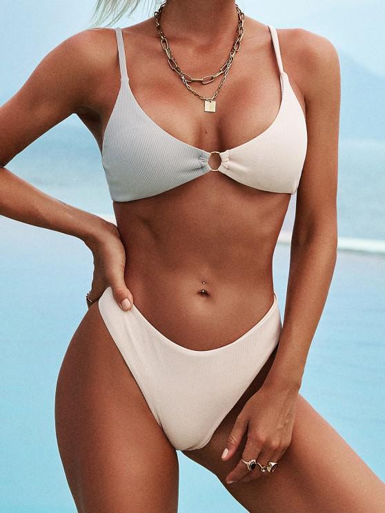 chic ZAFUL Two Tone O-ring High Cut Bikini Swimwear - LIGHT GRAY L