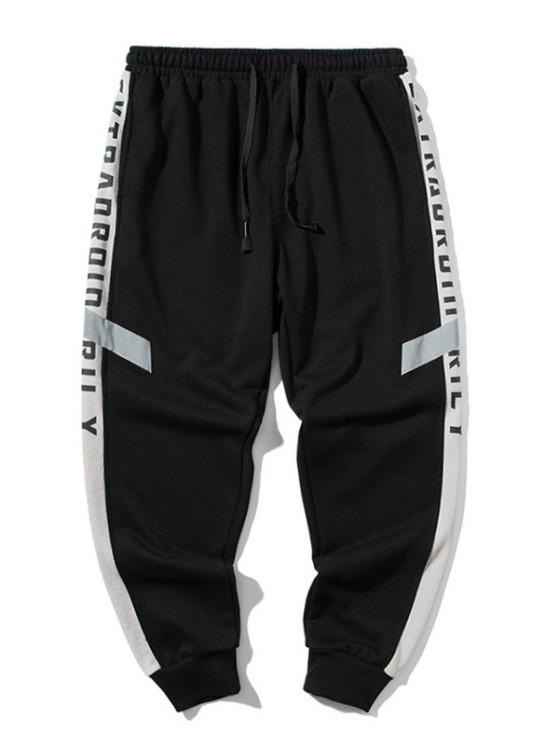 Reflective Patch Letter Print Jogger Sweatpants - أسود 4XL