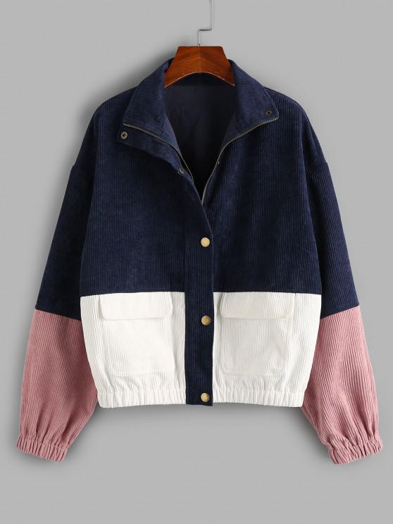 lady ZAFUL Drop Shoulder Corduroy Pocket Colorblock Jacket - MULTI-A M