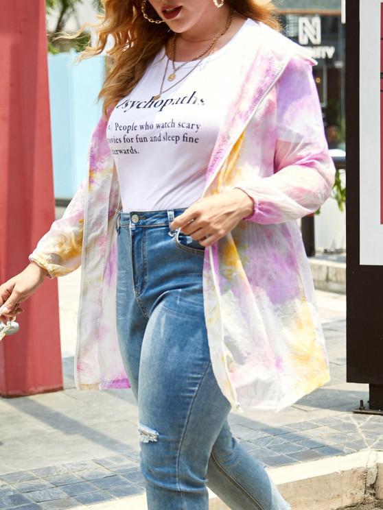 fashion Plus Size Neon Tie Dye Hooded Zip Tunic Coat - FANTASTIC 5X