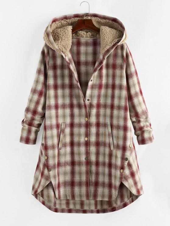 buy Plus Size Plaid Hooded Teddy Snap Button Coat - CHERRY RED 5X