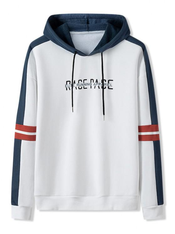 buy Letter Print Colorblock Patch Hoodie - WHITE XS