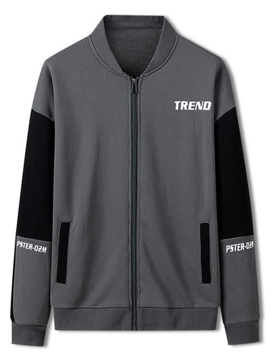 Trend Letter Print Colorblock Jacket - كربون رمادي L