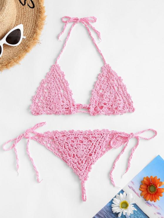 Halter Crochet Tanga Tie Bikini Swimwear - وردي فاتح M