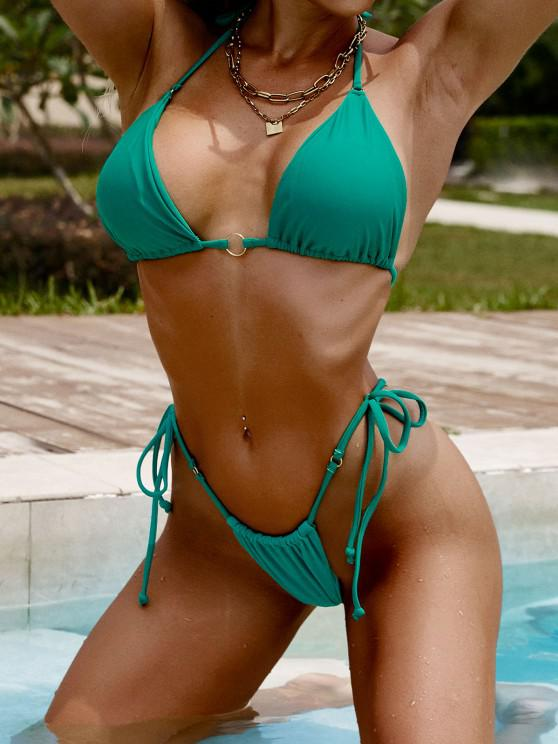hot ZAFUL Halter O Ring Tie Side String Bikini Swimwear - GREEN M