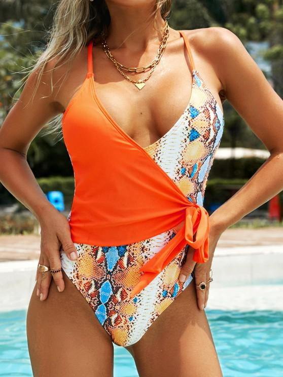unique ZAFUL Snake Print Knot Surplice One-piece Swimsuit - DARK ORANGE L