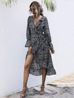 Flounce Tribal Print Midi Wrap Dress - Black S