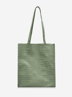 Retro Textured Rectangle Tote Bag - Camouflage Green