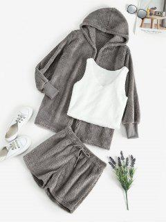 Plush Faux Fur Shorts Set With Hooded Coat - Gray L