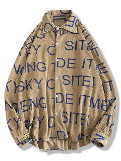 Chemise Haute Basse Applique Lettre Imprimée En Velours Côtelé - Café M