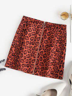 Leopard Faux Suede Pull Ring Zip Skirt - Brown M