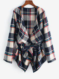 Contrast Piping Belted Plaid Wool Blend Coat - Deep Blue L