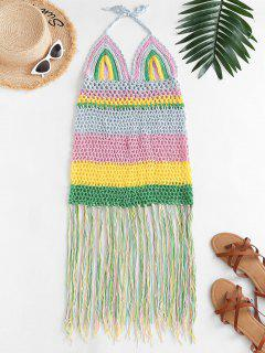 Halter Crochet Stripe Fringed Cover Up Dress - Multi