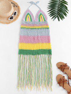 Halter Crochet Stripe Fringed Cover Up Dress - Multi