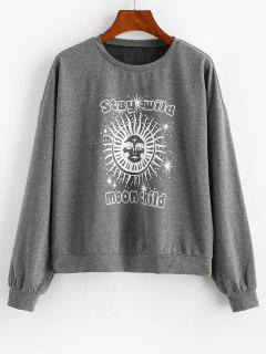 ZAFUL Sun Graphic Moon Child Drop Shoulder Sweatshirt - Dark Slate Grey S