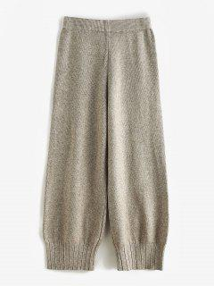 High Waisted Ribbed Knit Straight Pants - Apricot