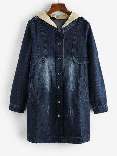 Cappotto Di Jeans Strappati Con Cappuccio - Blu Scura Denim  S