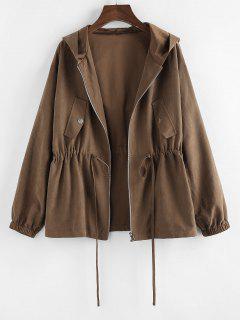 ZAFUL Hooded Drop Shoulder Drawstring Waist Jacket - Coffee M