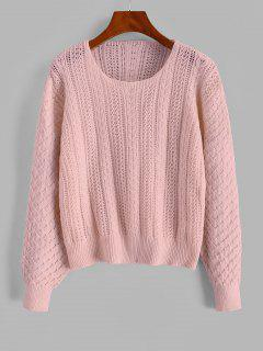 Cable Knit Openwork Pullover Sweater - Pink