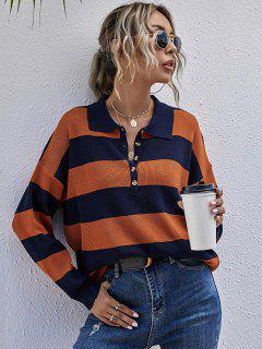 Drop Shoulder Colorblock Half Button Sweater - Multi L