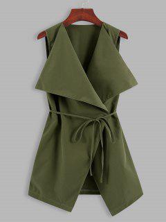 Gilet Long Cascade Ceinturé En Couleur Unie - Vert Profond Xl