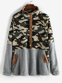 Camouflage Snap Button Pockets Fluffy Sweatshirt - Gray M