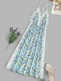 Leaf Print Lace Eyelash Slit Cami Night Dress - Light Sky Blue S