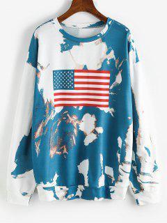 American Flag Tie Dye Boyfriend Sweatshirt - Deep Blue L