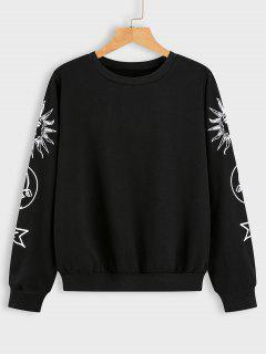 Sun Moon And Star Graphic Sweatshirt - Black S
