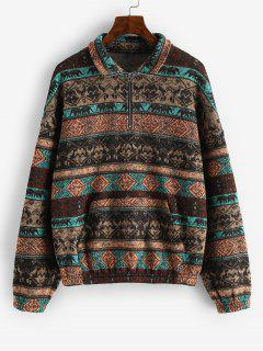 ZAFUL Fleece Lined Ethnic Half Zip Drop Shoulder Sweatshirt - Multi-a L