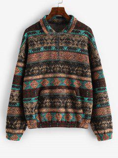 ZAFUL Fleece Lined Ethnic Half Zip Drop Shoulder Sweatshirt - Multi-a L