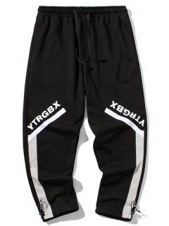 Pantalones Con Parche De Bloqueo De Color Y Estampado De Letras - Negro L