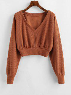 ZAFUL Drop Shoulder V Neck Crop Sweater - Rust M