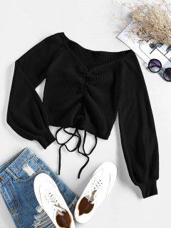 ZAFUL Ribbed Cinched Raglan Sleeve Jumper Sweater - Black Xl