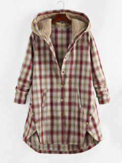 Plus Size Plaid Hooded Teddy Snap Button Coat - Cherry Red 4x