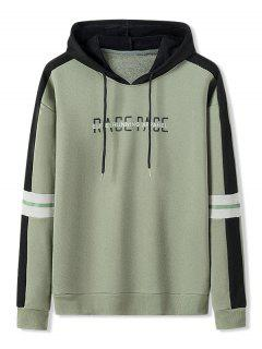 Letter Print Colorblock Patch Hoodie - Army Green S