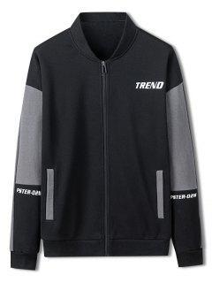 Trend Letter Print Colorblock Jacket - Black S