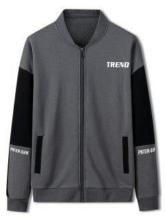 Trend Letter Print Colorblock Jacket - Carbon Gray Xs