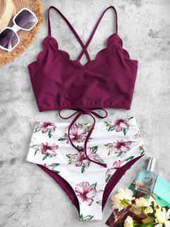 ZAFUL Flower Lace Up Scalloped Tummy Control Tankini Swimwear - Deep Red S