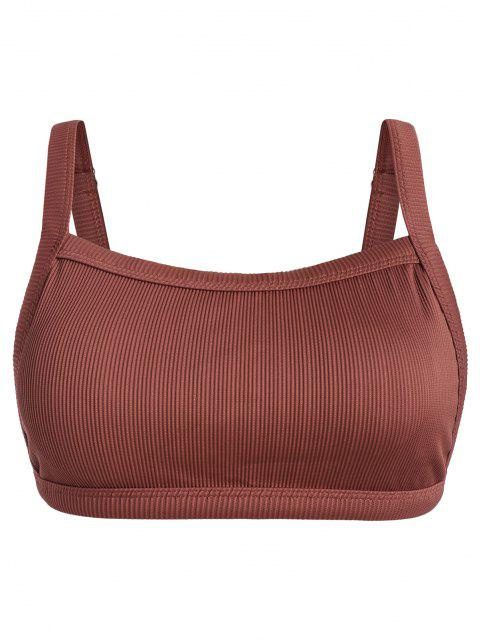 ZAFUL Übergröße Strukturiertes Geripptes Bikini-Top - Rot XL Mobile