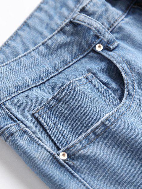 unique Distressed Destroy Wash Ripped Long Jeans - JEANS BLUE 38 Mobile