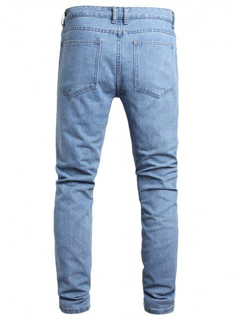 sale Distressed Destroy Wash Ripped Long Jeans - JEANS BLUE 36 Mobile