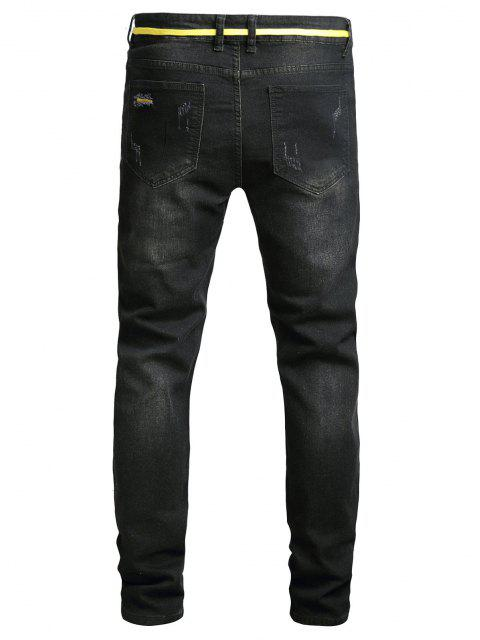shops Distressed Long Zip Fly Ripped Jeans - BLACK 36 Mobile