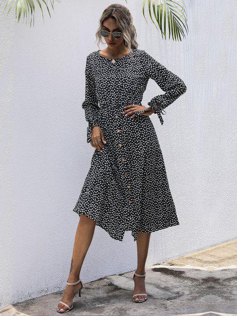 chic Tiny Floral Print Tie Sleeve Midi Dress - DEEP BLUE L Mobile