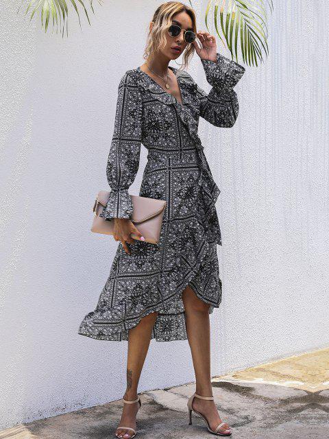 lady Flounce Tribal Print Midi Wrap Dress - BLACK XL Mobile