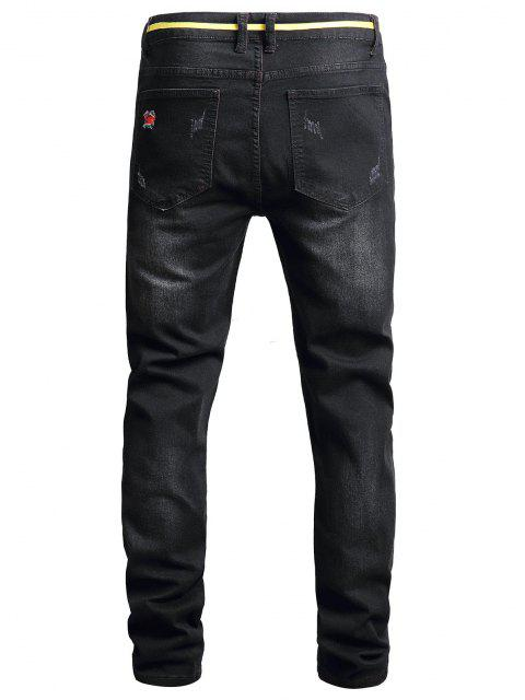 Pantaloni in Denim Strappati - Nero 36 Mobile